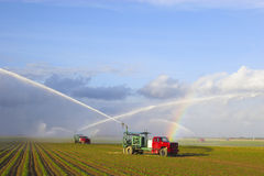 Tractors watering plants Stock Photo