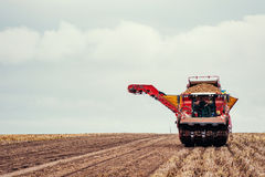 Tractors working in the field. Beauty world Royalty Free Stock Photography