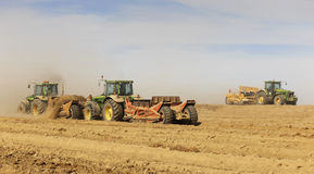 Tractors works for a new high speed railway construction. Royalty Free Stock Photo