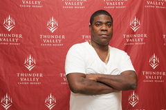 Tracy Morgan. LINCOLN, CA – April 26: Comedian Tracy Morgan poses for meet and greet photos backstage at Thunder Valley Casino Resort in Lincoln stock image