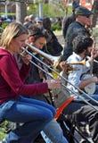Trad. De Band van de jazz, Greenich Dorp New York Stock Foto