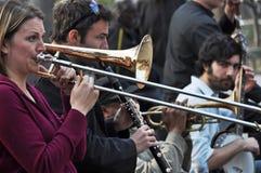 Trad. De Band van de jazz, Greenich Dorp New York Stock Foto's