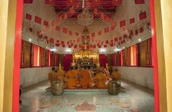 TRAD THAILAND - OCT 19,2017 : group of thai monk praying in budd. Hist church in important buddhism historical day Royalty Free Stock Photo