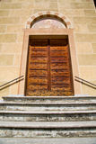 Tradate  italy   church    door entrance and mosaic Royalty Free Stock Images