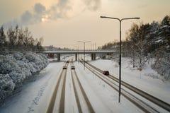 Traddic i vinter arkivfoton