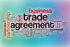 Trade agreement word cloud with abstract background Royalty Free Stock Photography