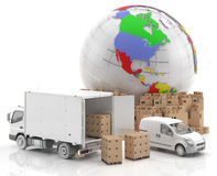 Trade in America - Made in USA- Transportation. Goods ready for transport and distribution, along with a truck and a van. American symbol potential in the field Royalty Free Stock Photography