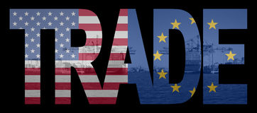 Trade American and EU flags Stock Image