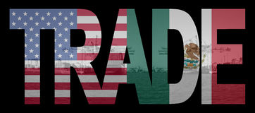 Trade American Mexican flags Stock Photos