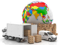 Trade in Asia - Transportation. Goods ready for transport and distribution, along with a truck and a van. Asian Symbol potential in the field of transport and Stock Images