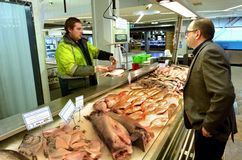 Trade in Auckland Fish Market in Auckland New Zealand. AUCKLAND - JULY 08 2015:Trade in Auckland Fish Market in Auckland New Zealand.The Fish Market building royalty free stock photo