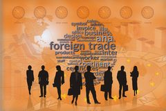 Trade background people orange Stock Photos