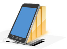 Trade and bar graphs. Trading and bar graphs with smartphone on a white background Stock Photo