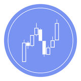 Trade candles. Flat icon. Symbol. The blue circle. royalty free illustration