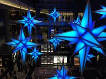 A trade center. Illumined trade center decorated for Christmas Royalty Free Stock Images