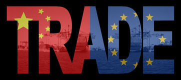 Trade with chinese and EU flags Royalty Free Stock Photography