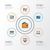 Trade Colorful Outline Icons Set. Collection Of Agreement, Message, Bank Cash And Other Elements. Also Includes Symbols. Trade Colorful Outline Icons Set Stock Image