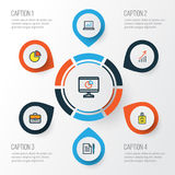 Trade Colorful Outline Icons Set. Collection Of Agreement, Pie Chart, Financial Profit And Other Elements. Also Includes. Trade Colorful Outline Icons Set Stock Images
