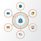 Trade Colorful Outline Icons Set. Collection Of Bank Cash, Pie Chart, Conversation And Other Elements. Also Includes. Trade Colorful Outline Icons Set Stock Photo