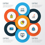 Trade Colorful Outline Icons Set. Collection Of Circle Stats, Financial Profit, Bank Cash And Other Elements. Also Stock Photo