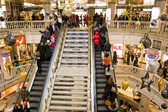 Trade complex the Okhotny Ryad. New Year's fuss in a large modern shop Royalty Free Stock Image