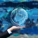 Trade concept. Businessman holding digital globe on forex background. Trade concept. 3D Rendering Stock Images