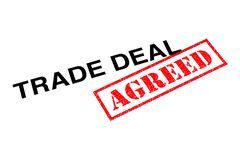 Trade Deal Agreed. Trade Deal heading stamped with a red AGREED rubber stamp stock images