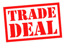 TRADE DEAL. Red Rubber Stamp over a white background Stock Image