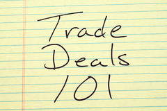 Trade Deals 101 On A Yellow Legal Pad Stock Images