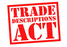 TRADE DESCRIPTIONS ACT. Red Rubber Stamp over a white background Stock Image