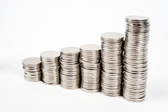 Trade diagram - coins. Columns of money - investment profit Royalty Free Stock Photo