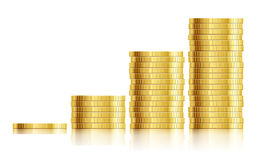 Trade diagram with golden coins money Stock Images