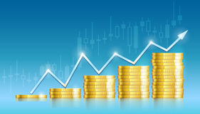 Trade diagram with golden coins money Stock Photography