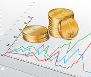 Trade diagram with golden coins Stock Photography
