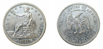 1878 Trade Dollar. Coin, both sides, isolated on white background Royalty Free Stock Image