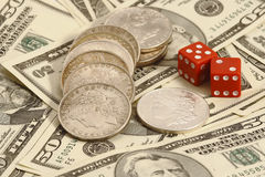 Trade dollar and dice Royalty Free Stock Photo