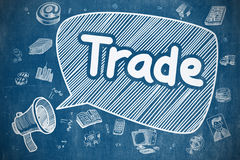 Trade - Doodle Illustration on Blue Chalkboard. Speech Bubble with Inscription Trade Doodle. Illustration on Blue Chalkboard. Advertising Concept. Trade on Stock Image