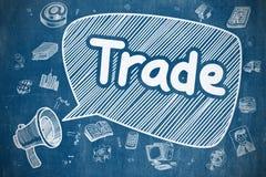Trade - Doodle Illustration on Blue Chalkboard. Stock Image