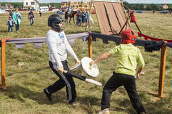 Trade and entertainment at the festival 536-th anniversary of the liberation of Russia from Mongol-Tatar yoke in the Kaluga region. Activities of the stock photography
