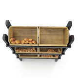 Trade equipment for the sale of bread. Front view. On white. 3D illustration, clipping path. Trade equipment for the sale of bread. Front view. On white Stock Photos