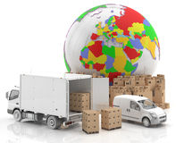 Trade in Europe - Made in Europe - Transportation. Goods ready for transport and distribution, along with a truck and a van. European symbol potential in the Stock Photography