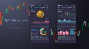 Trade exchange app on phone screen. Mobile banking cryptocurrency ui. Online stock trading interface vector eps 10. royalty free illustration