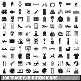 100 trade exhibition icons set, simple style Royalty Free Stock Photography