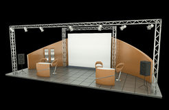 Trade Exhibition Stand. Tradeshow stand over black background Stock Photos