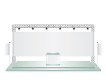 Trade exhibition stand glass and white flag banner. Trade exhibition stand glass and white flag