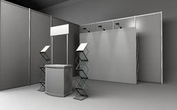Trade exhibition stand, Exhibition round, 3D rendering visualization of exhibition equipment, Advertising space on a white. Background, with space for text ads royalty free stock photos