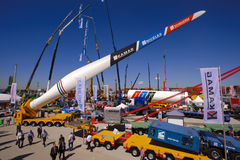 Trade fair for building machines Royalty Free Stock Image