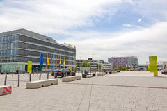 Trade fair Stuttgart, administrative building. Stuttgart, Germany - May 06, 2017: Trade fair Stuttgart - administration building with corporate logo at building Stock Photo
