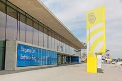 Trade fair Stuttgart, entrance east. Stuttgart, Germany - May 06, 2017: Trade fair Stuttgart, entrance east Eingang Ost - corporate logo at building facade Stock Photography