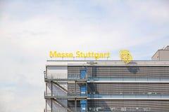 Trade fair Stuttgart, main building. Stuttgart, Germany - May 06, 2017: Trade fair Stuttgart - corporate logo at building facade Stock Photography